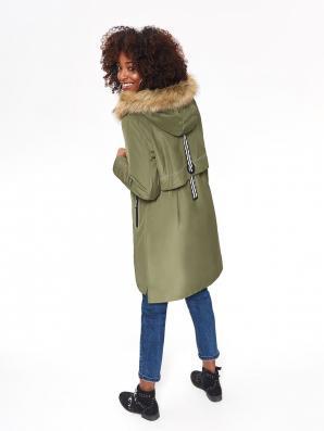 Bunda dámská khaki parka s kapucí