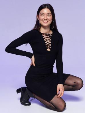 Šaty dámské černé ONE SIZE se šněrováním