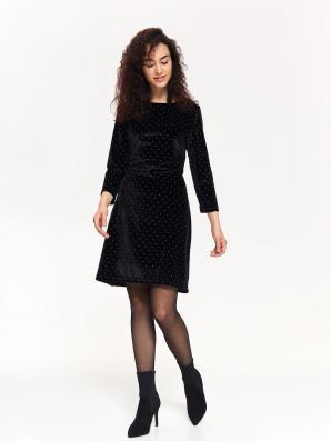 Šaty dámské černé s puntíkem