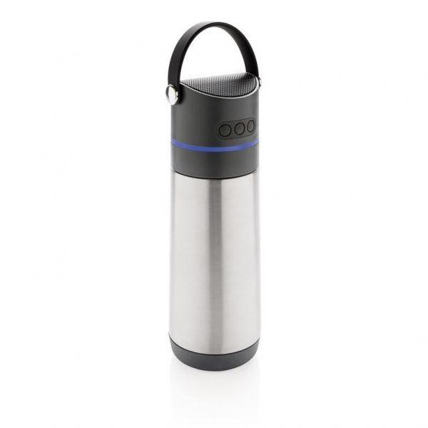 XD Design Termoska s reproduktorem 500 ml, stříbrná - šedá