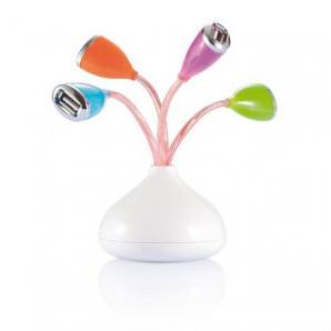 Květinový USB hub 4 port s LED světýlky