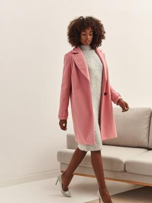 Kabát dámský růžový