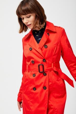 Kabát dámský s dvouřadovými knoflíky a páskem
