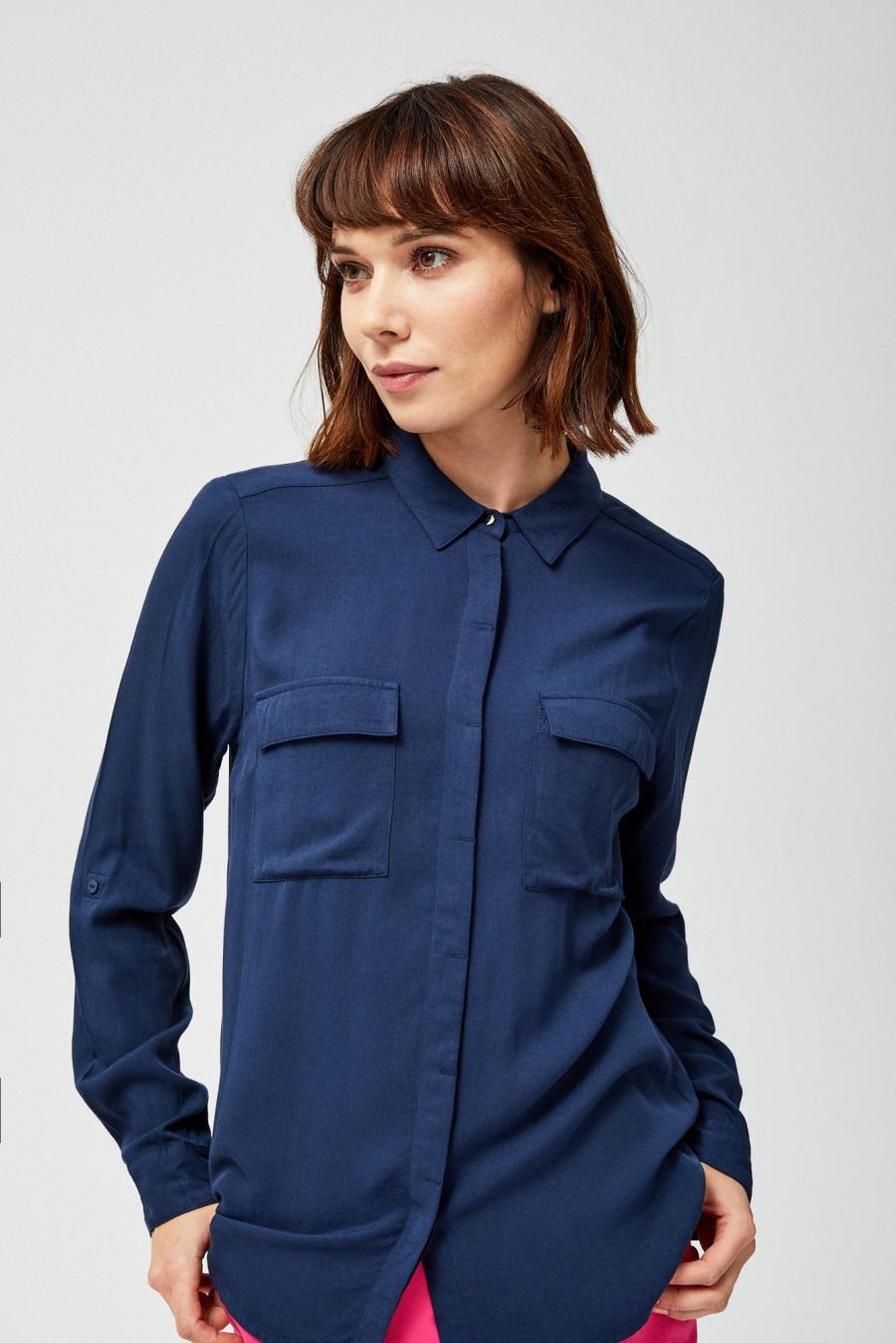 Moodo Košile dámská s kapsama - Tmavě modrá - velikost XS