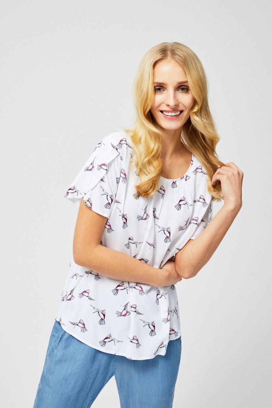 Moodo Košile dámská vzorovaná s krátkým rukávem - Bílá - velikost XS