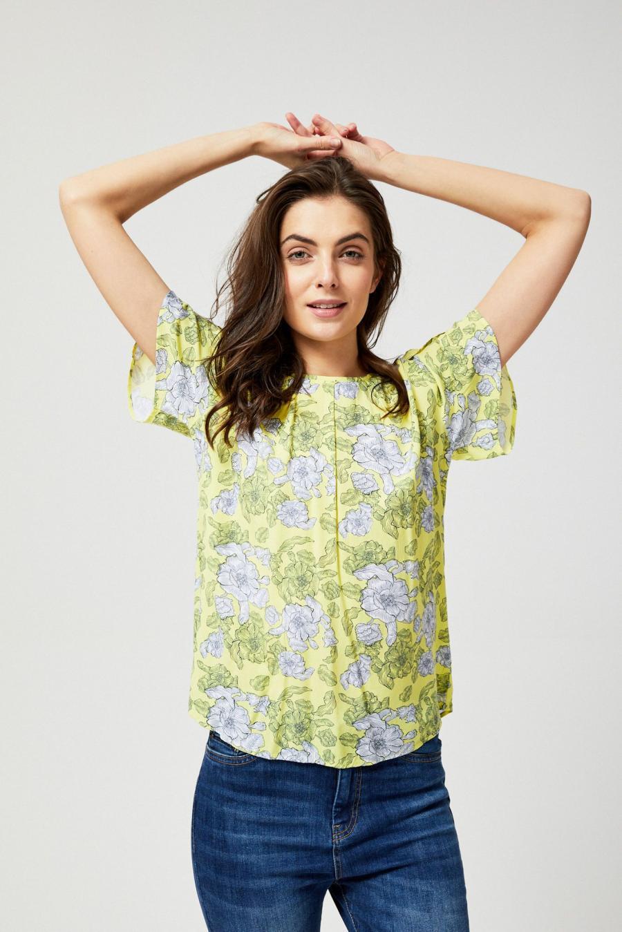 Moodo Košile dámská vzorovaná s krátkým rukávem - žlutá - velikost S