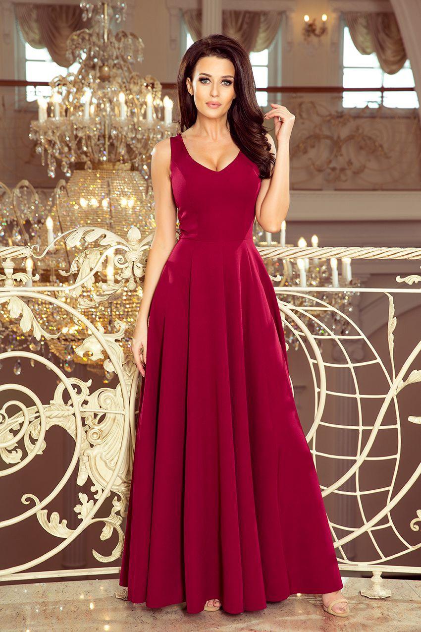 Numoco šaty dámské CIDYI dlouhé, maxi - červená - velikost L