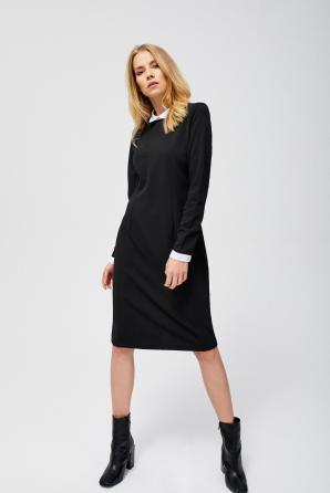 Šaty dámské s límečkem a dlouhým rukávem