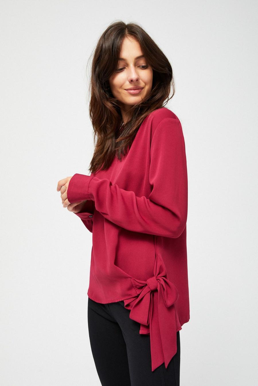 Moodo Košile dámská se zavazováním a dlouhým rukávem - červená - velikost XS
