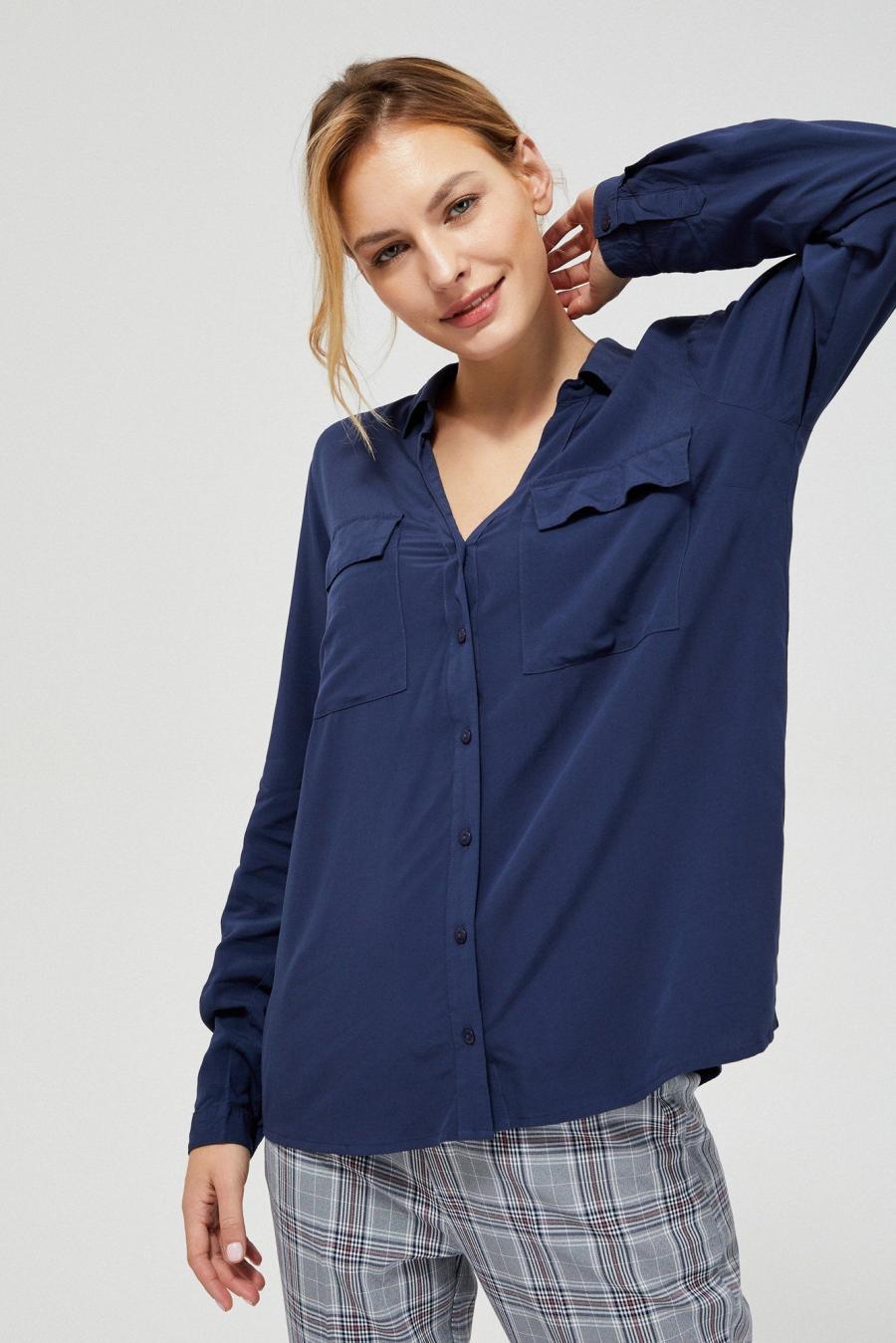 Moodo Košile EKSE II dámská oversize - Tmavě modrá - velikost XS
