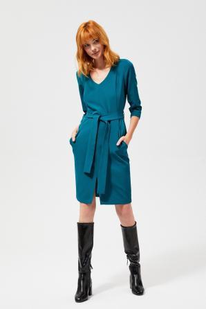 Šaty dámské REWASA s 3/4 rukávem s páskem