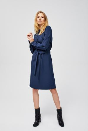 Šaty dámské s dlouhým rukávem a zavazovacím páskem