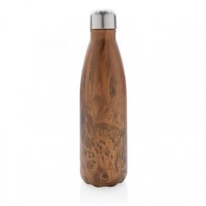Nerezová láhev na vodu, dekor tmavého dřeva