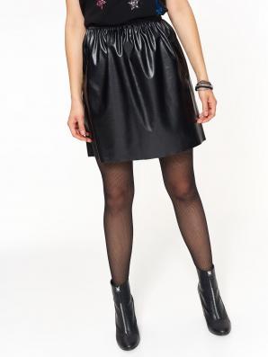 Sukně dámská černá lesklá z eko kůže