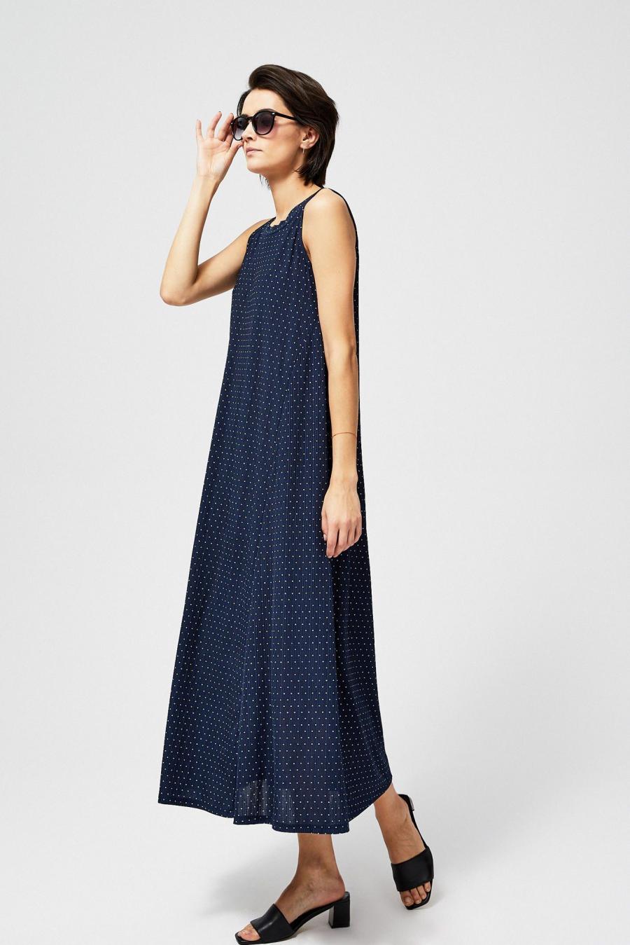 Moodo šaty dámské DALI dlouhé s tečkami - Modrá - velikost XS