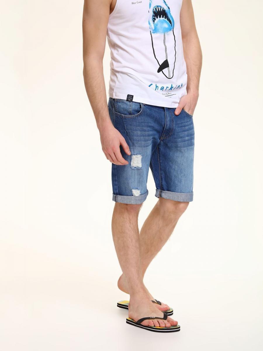 Top Secret Kraťasy pánské jeans potrhané poslední kus - Modrá - velikost 32