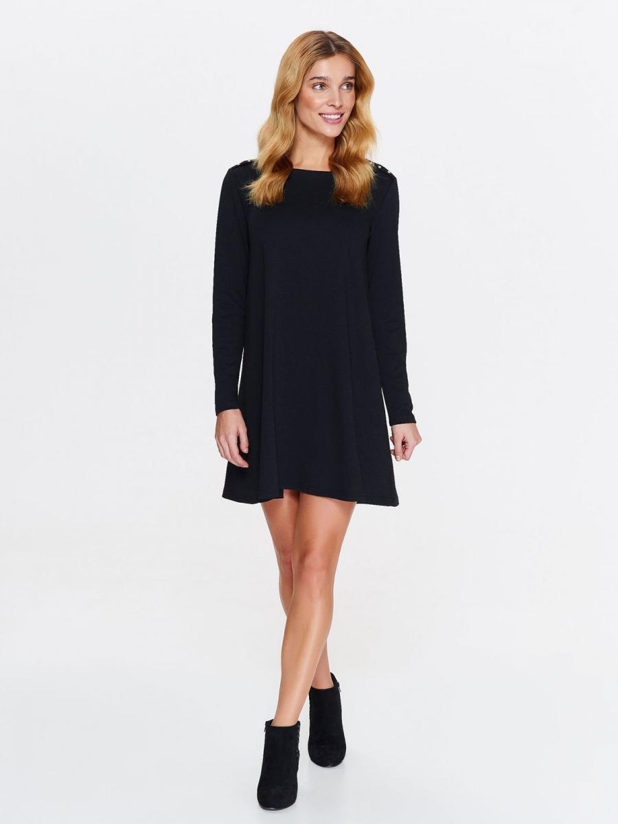 Top Secret šaty dámské černé se cvoky a dlouhým rukávem