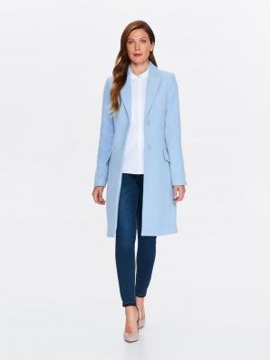 Kabát dámský bledě modrý s klopou