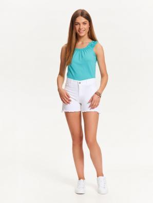 Šortky dámské bílé jeans s třásněmi