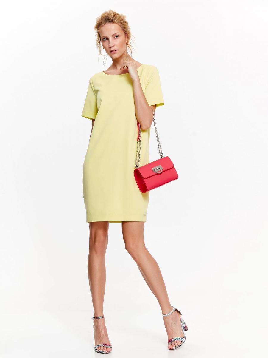 Top Secret šaty dámské žluté s kruhovým výstřihem a krátkým rukávem