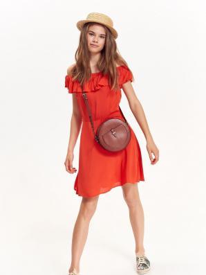 Šaty dámské červené s odhalenými rameny