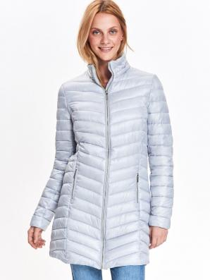 Bunda dámská šedá prošívaná na zip s kapucí