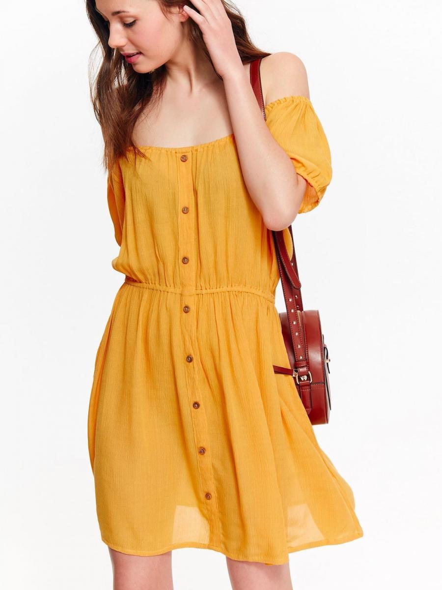Top Secret šaty dámské žluté s knoflíky a odnalenými rameny