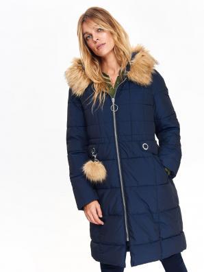 Bunda dámská tmavě modrá s odepínacím kožíškem na kapuci