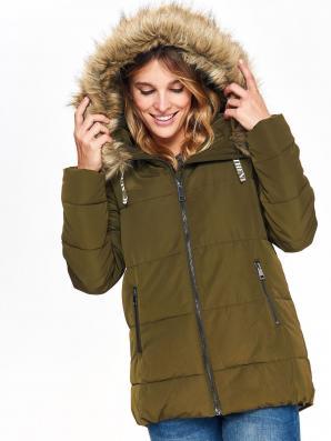 Bunda dámská khaki s kožíškovou kapucí