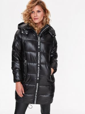 Bunda dámská černá prošívaná s kapucí