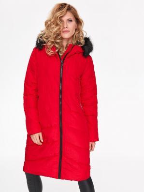 Bunda dámská červená s kožíškovou kapucí