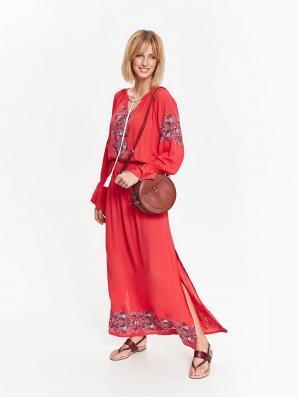 Šaty dámské dlouhé MAXI s gumou v pase a dlouhým rukávem
