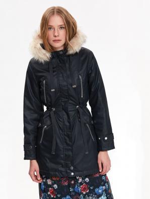 Bunda dámská PARKA tmavě modrá s kožíškovou kapucí