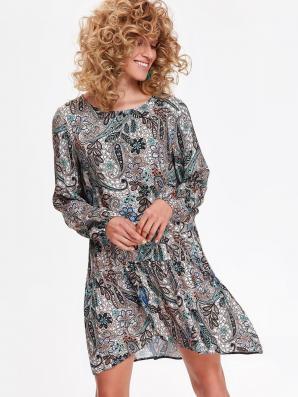 Šaty dámské květované s dlouhým rukávem