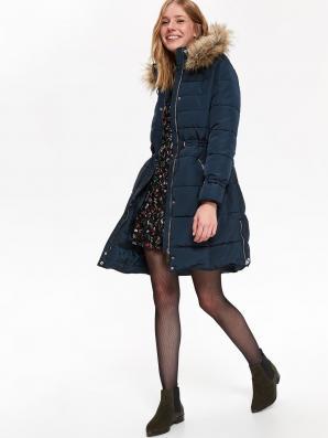 Bunda dámská tmavě modrá s oddělávací kapucí a stahováním v pase