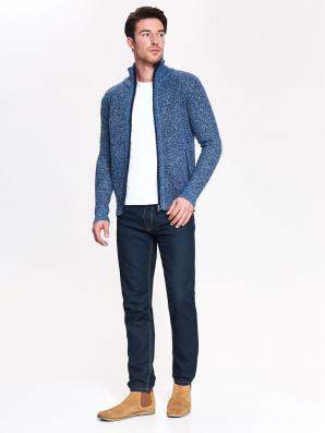 Svetr pánský modrý na zip s dlouhým rukávem