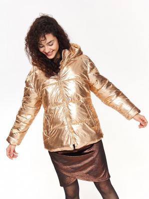 Bunda dámská lesklá zlatá s kapucí