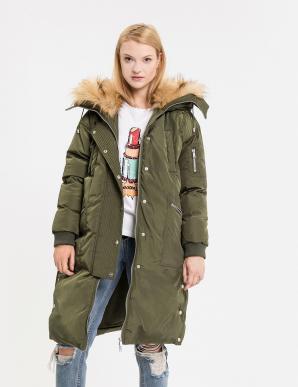 Bunda dámská KOREA s velkou kožíškovou kapucí
