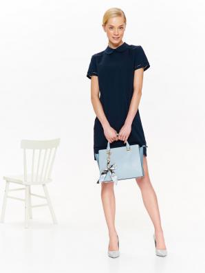 Šaty dámské s límečkem a krátkým rukávem
