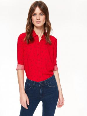 Košile dámská červená s dlouhým rukávem