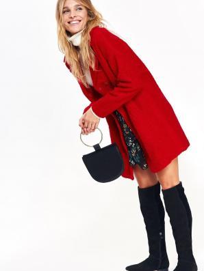 Kabát dámský vlněný v červeném odstínu
