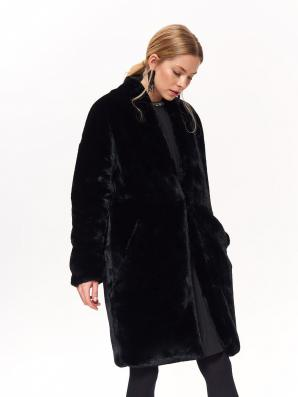 Kabát dámský černý kožíškový