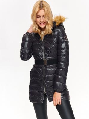 Bunda dámská černá s páskem a kožíškovou kapucí