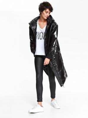 Bunda dámská černá prošívaná lesklá s kapucí