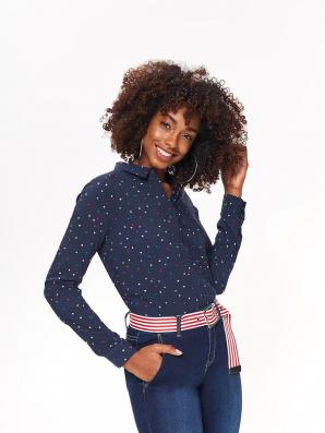 Košile dámská tmavě modrá s barevnýmí puntíky