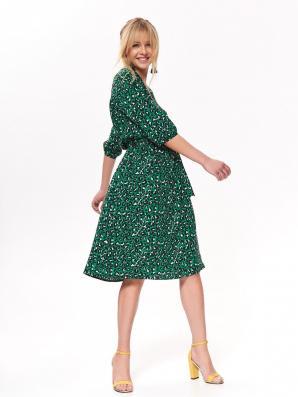 Šaty dámské zelené se vzorem