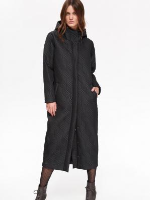 Bunda dámská černá dlouhá s kapucí