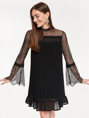 Šaty dámské krajkové s dlouhým průstvitným rukávem