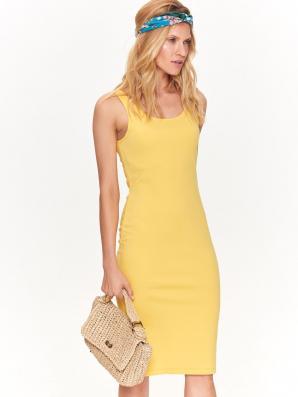 Šaty dámské žluté MIDI bez rukávu